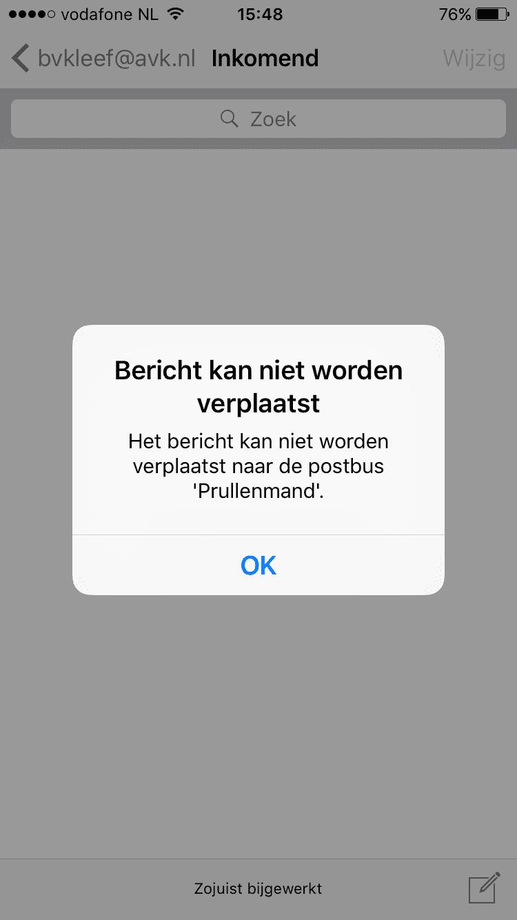 iPhone iPad Bericht kan niet worden verplaatst