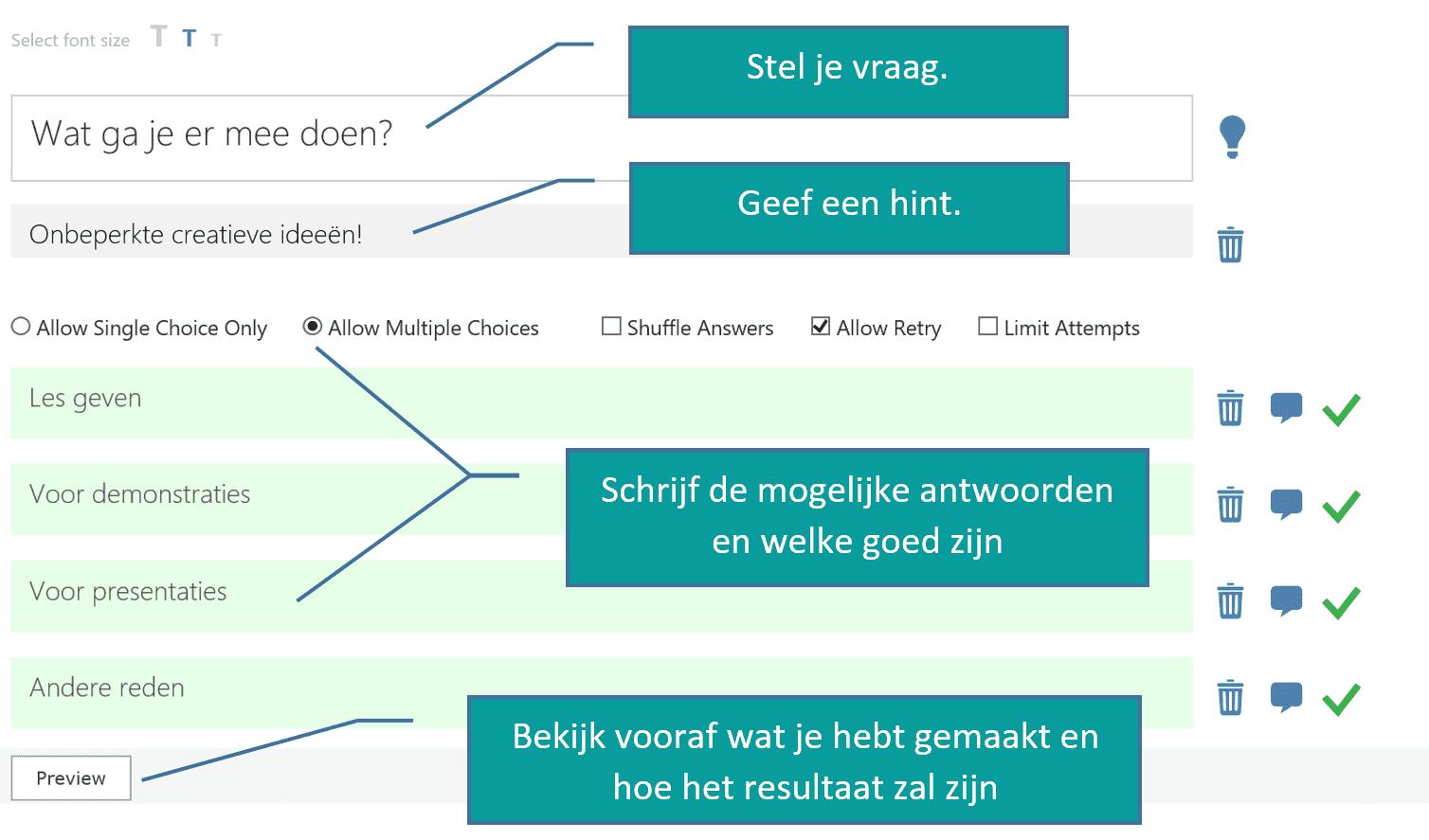 Office Mix Poll voorbeeld