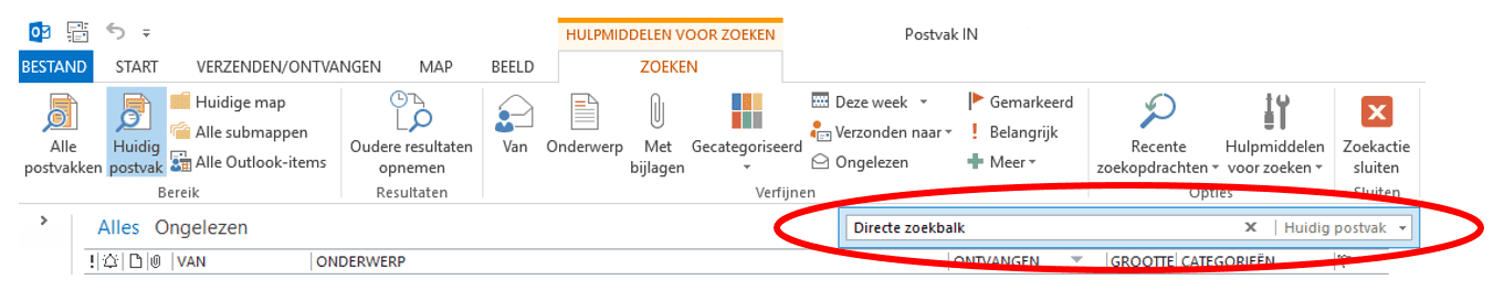 Zoeken in Outlook1