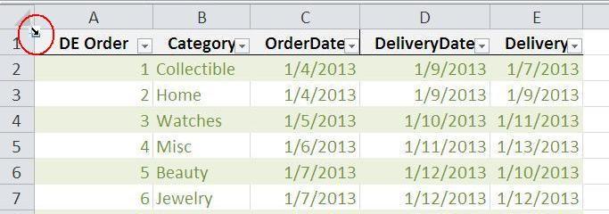 Excel tabel 11 eenkliks selectie