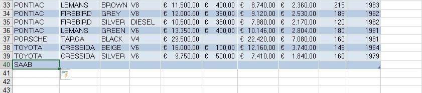 Excel tabel 5 makkekijke invoer