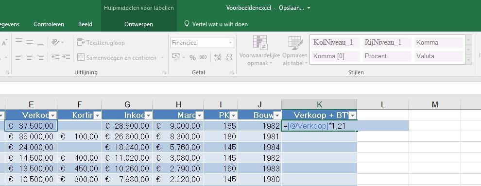 Excel tabel 6 namen gebruiken