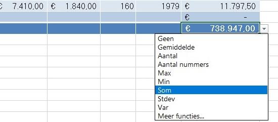 Excel tabel 7 totaalrij