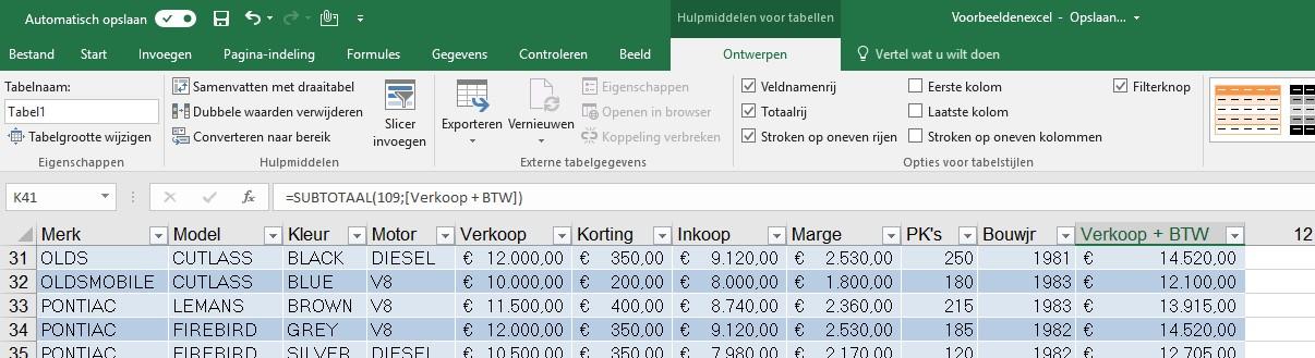Excel tabel 8 eerste rij blokkeer