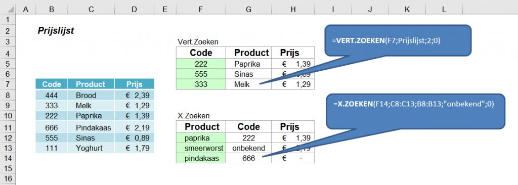 Nieuwe zoekfunctie in Excel: X.Zoeken