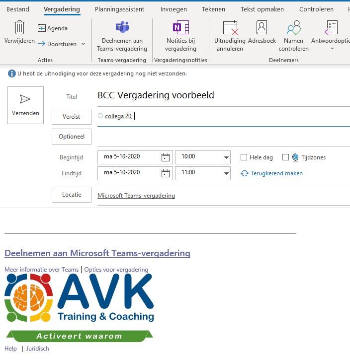 AVG proof vergaderen - vergader uitnodiging