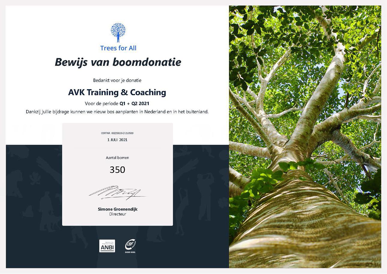 Certificaat Trees for all - aantal gedoneerde bomen in Q1 en Q2 2021