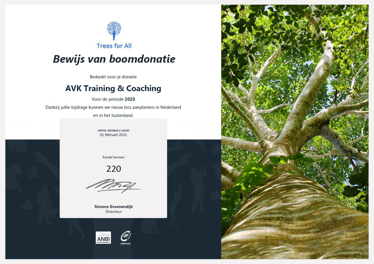 AVK Certificaat Trees for all - periode 2020