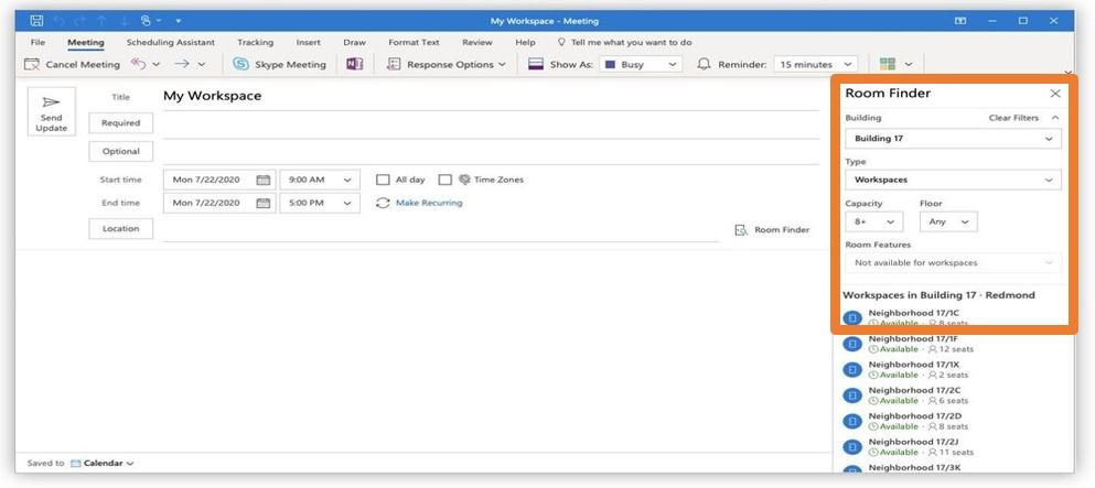Reserveer je werkplek in Outlook werkplek agenda