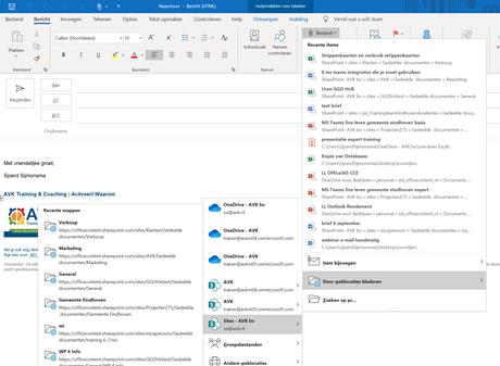 Teams bestanden toevoegen aan Outlook mail
