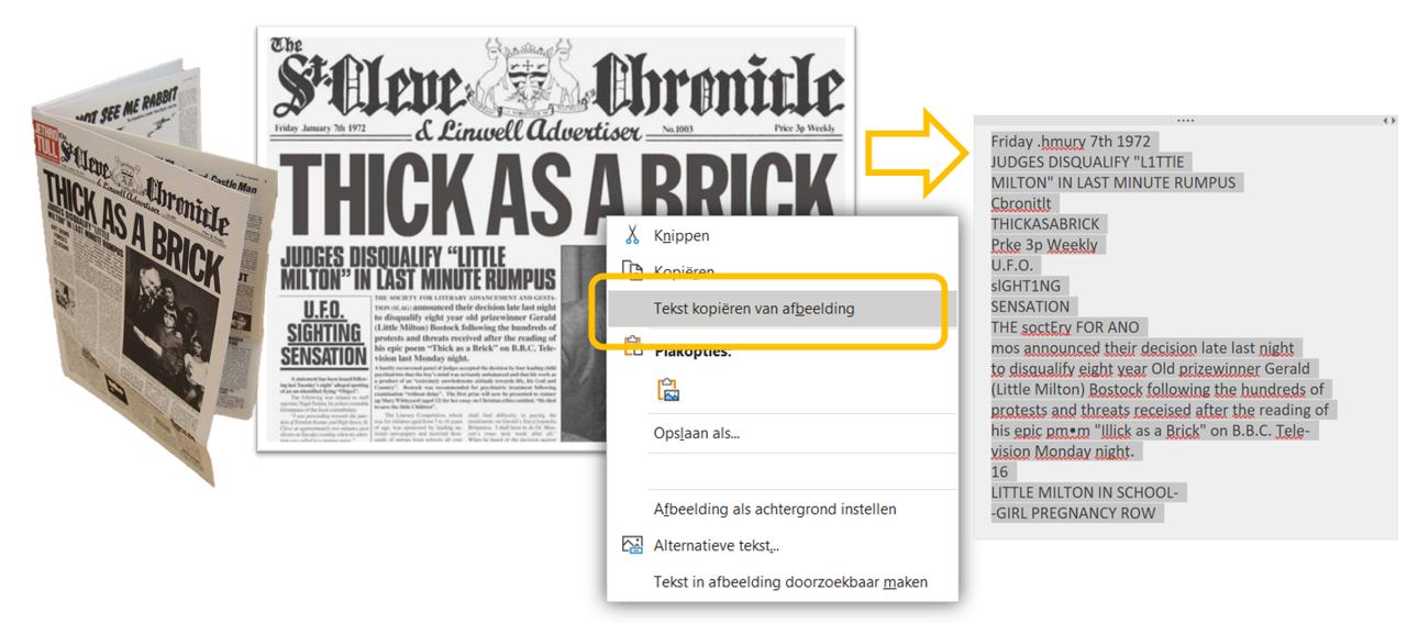 Tekst van krantenartikel kopiëren en plakken