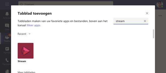 Microsoft Stream toevoegen aan tabblad
