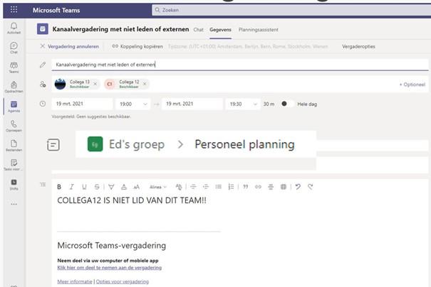Chatfunctie beperken - maak een kanaal vergadering