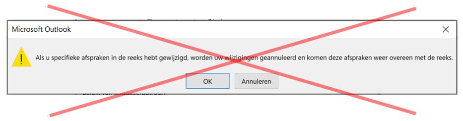 Outlook update terugkeerpatroon