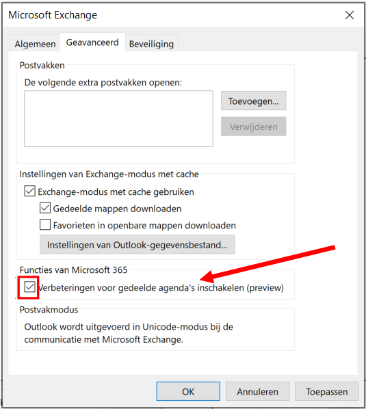 Outlook update concept vergadering